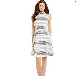 Antonio Melani Black and White Halter Dress